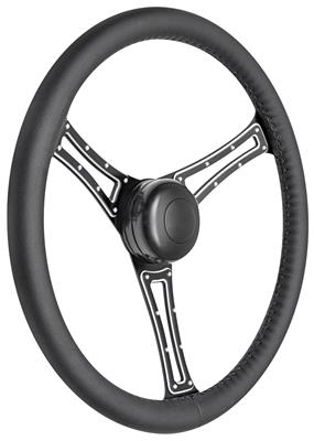 1967-68 Bonneville Steering Wheel Kit, Autocross Leather Tall Cap - Black with Black Center, Early Mount