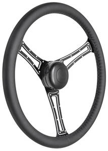1978-1988 El Camino Steering Wheel Kit, Autocross Leather Tall Cap - Black with Black Center