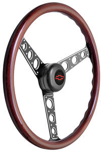 1967-1968 El Camino Steering Wheel Kit, Autocross II Wood Tall Cap - Black with Red Bowtie Center, Early Mount