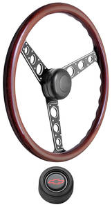 1967-1968 El Camino Steering Wheel Kit, Autocross II Wood Hi-Rise Cap - Black with Red Bowtie Center, Early Mount