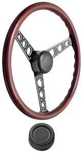 1969-76 Bonneville Steering Wheel Kit, Autocross II Wood Hi-Rise Cap - Black with Black Center, Late Mount