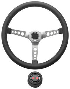 1967-1968 El Camino Steering Wheel Kit, Retro Wheel With Holes Hi-Rise Cap - Black with Red Bowtie Center, Early Mount