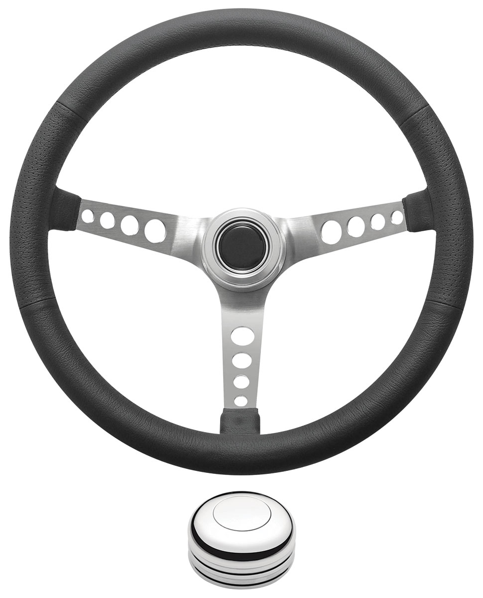 Photo of Steering Wheel Kit, Retro Wheel With Holes Tall Cap - Polished with polished center, late mount