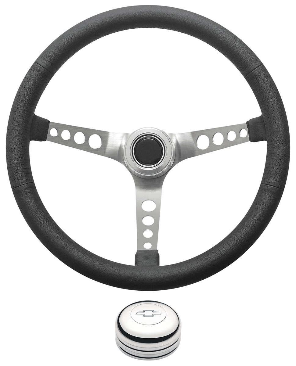 Photo of Steering Wheel Kit, Retro Wheel With Holes Tall Cap - Polished with engraved Bowtie center