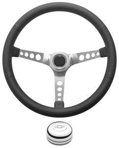 1978-1988 El Camino Steering Wheel Kit, Retro Wheel With Holes Tall Cap - Polished with Engraved Bowtie Center