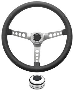 1969-1977 Bonneville Steering Wheel Kit, Retro Wheel With Holes Tall Cap - Polished with Black Center, Late Mount
