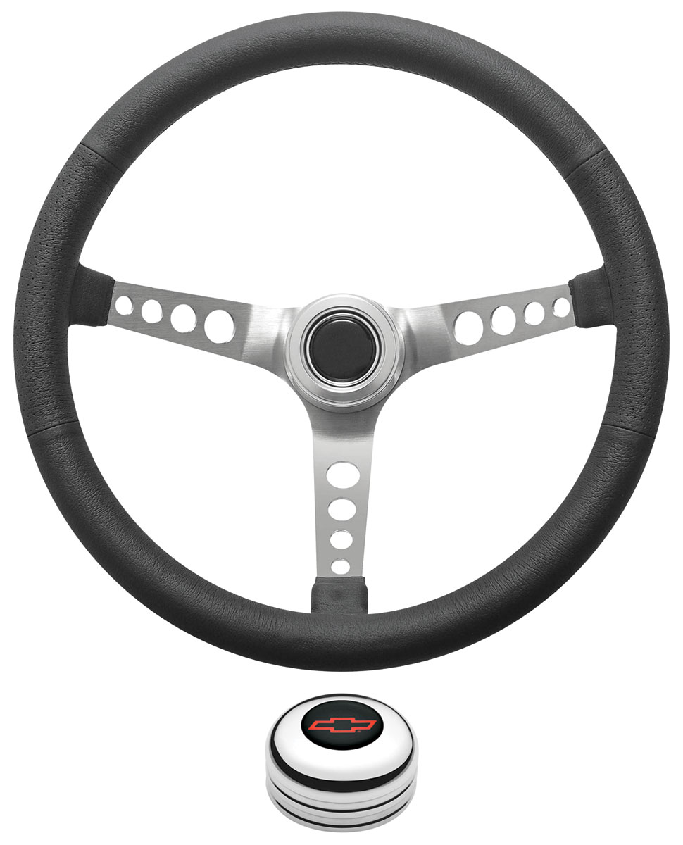 Photo of Steering Wheel Kit, Retro Wheel With Holes Tall Cap - Polished with red Bowtie center