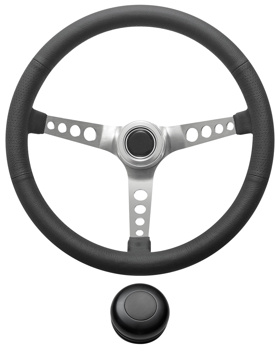 Photo of Steering Wheel Kit, Retro Wheel With Holes Tall Cap - Black with black center
