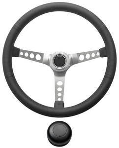 1969-77 Bonneville Steering Wheel Kit, Retro Wheel With Holes Tall Cap - Black with Black Center, Late Mount