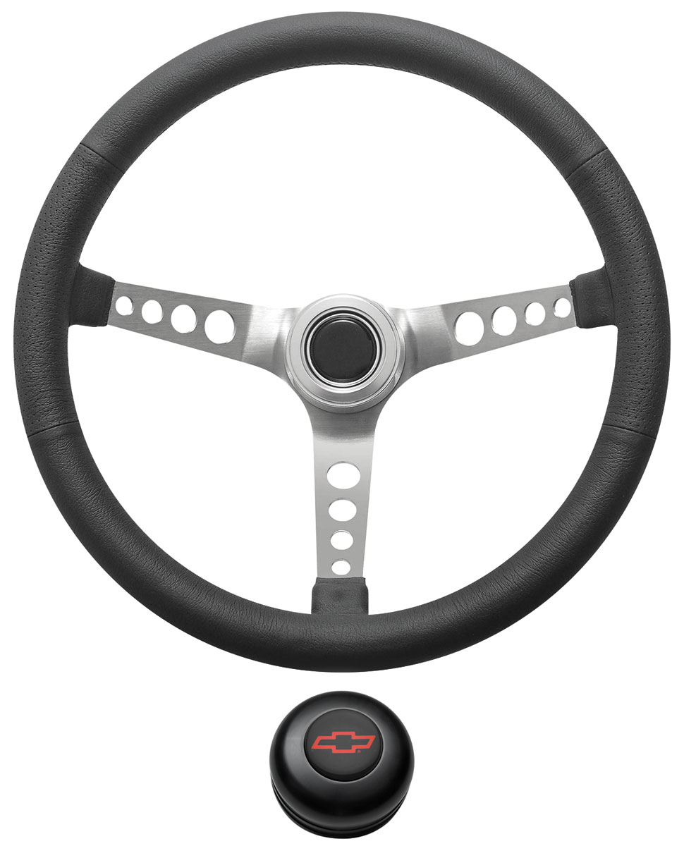 Photo of Steering Wheel Kit, Retro Wheel With Holes Tall Cap - Black with red Bowtie center