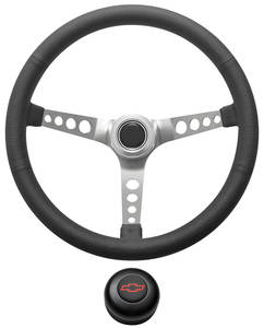 1978-1988 El Camino Steering Wheel Kit, Retro Wheel With Holes Tall Cap - Black with Red Bowtie Center