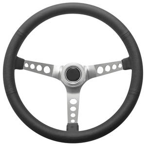 1969-77 Bonneville Steering Wheel Kit, Retro Wheel With Holes Hi-Rise Cap - Polished with Polished Center, Late Mount