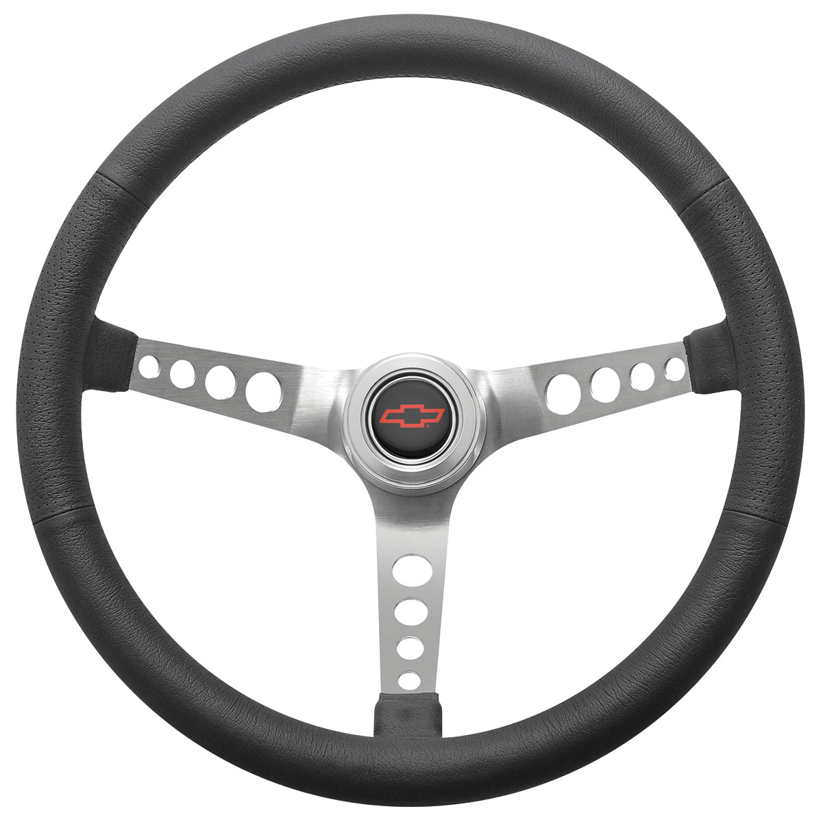 Photo of Steering Wheel Kit, Retro Wheel With Holes Hi-Rise Cap - Polished with red Bowtie center