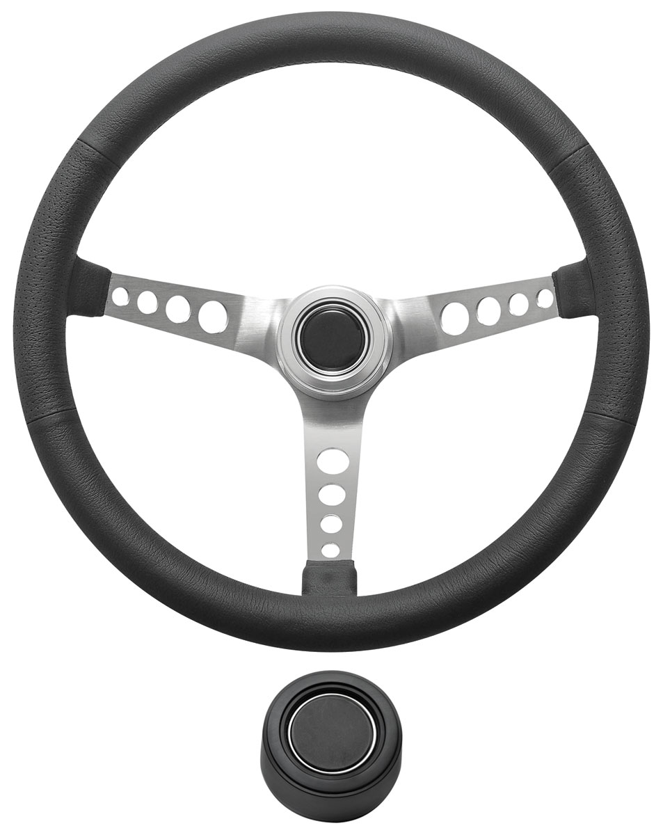 Photo of Steering Wheel Kit, Retro Wheel With Holes Hi-Rise Cap - Black with black center