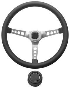 1969-77 Bonneville Steering Wheel Kit, Retro Wheel With Holes Hi-Rise Cap - Black Black Center, Late with Mount