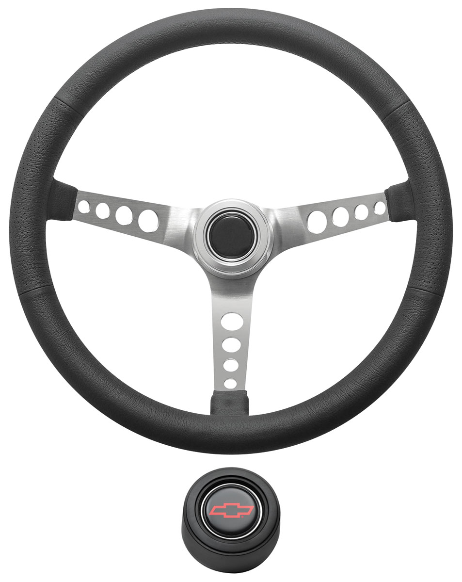Photo of Steering Wheel Kit, Retro Wheel With Holes Hi-Rise Cap - Black with red Bowtie center