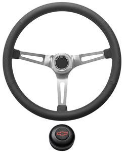 1967-1968 El Camino Steering Wheel Kit, Retro Wheel With Slots Tall Cap - Black with Red Bowtie Center, Early Mount