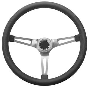 1967-1968 Bonneville Steering Wheel Kit, Retro Wheel With Slots Hi-Rise Cap - Polished with Polished Center, Early Mount