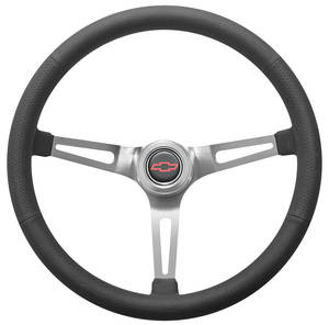 1967-1968 El Camino Steering Wheel Kit, Retro Wheel With Slots Hi-Rise Cap - Polished with Red Bowtie Center, Early Mount