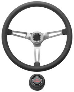 1967-1968 El Camino Steering Wheel Kit, Retro Wheel With Slots Hi-Rise Cap - Black with Red Bowtie Center, Early Mount
