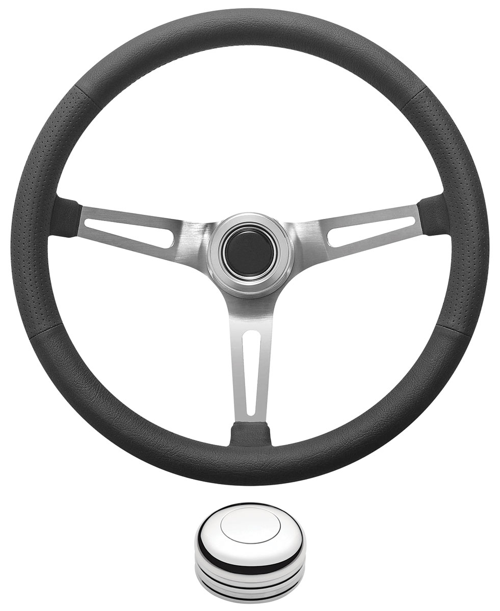 Photo of Steering Wheel Kit, Retro Wheel With Slots Tall Cap - Polished with polished center