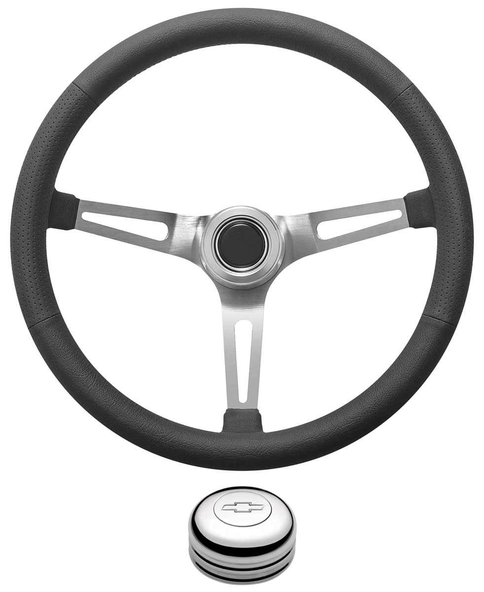 Photo of Steering Wheel Kit, Retro Wheel With Slots Tall Cap - Polished with engraved Bowtie center