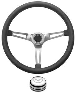1978-1988 El Camino Steering Wheel Kit, Retro Wheel With Slots Tall Cap - Polished with Engraved Bowtie Center