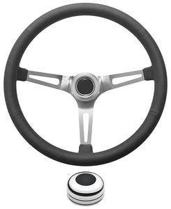 1969-77 Bonneville Steering Wheel Kit, Retro Wheel With Slots Tall Cap - Polished with Black Center, Late Mount
