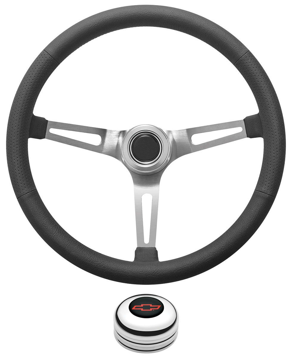 Photo of Steering Wheel Kit, Retro Wheel With Slots Tall Cap - Polished with red Bowtie center