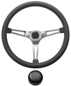 1969-77 Bonneville Steering Wheel Kit, Retro Wheel With Slots Tall Cap - Black with Black Center, Late Mount