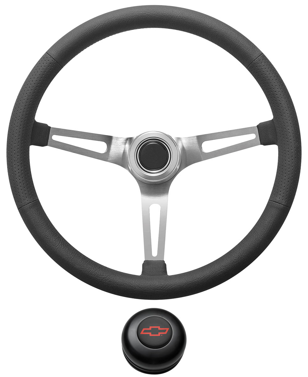 Photo of Steering Wheel Kit, Retro Wheel With Slots Tall Cap - Black with red Bowtie center