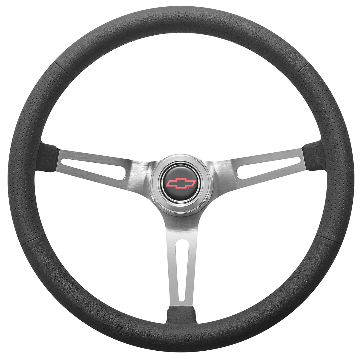 Photo of Steering Wheel Kit, Retro Wheel With Slots Hi-Rise Cap - Polished with red Bowtie center