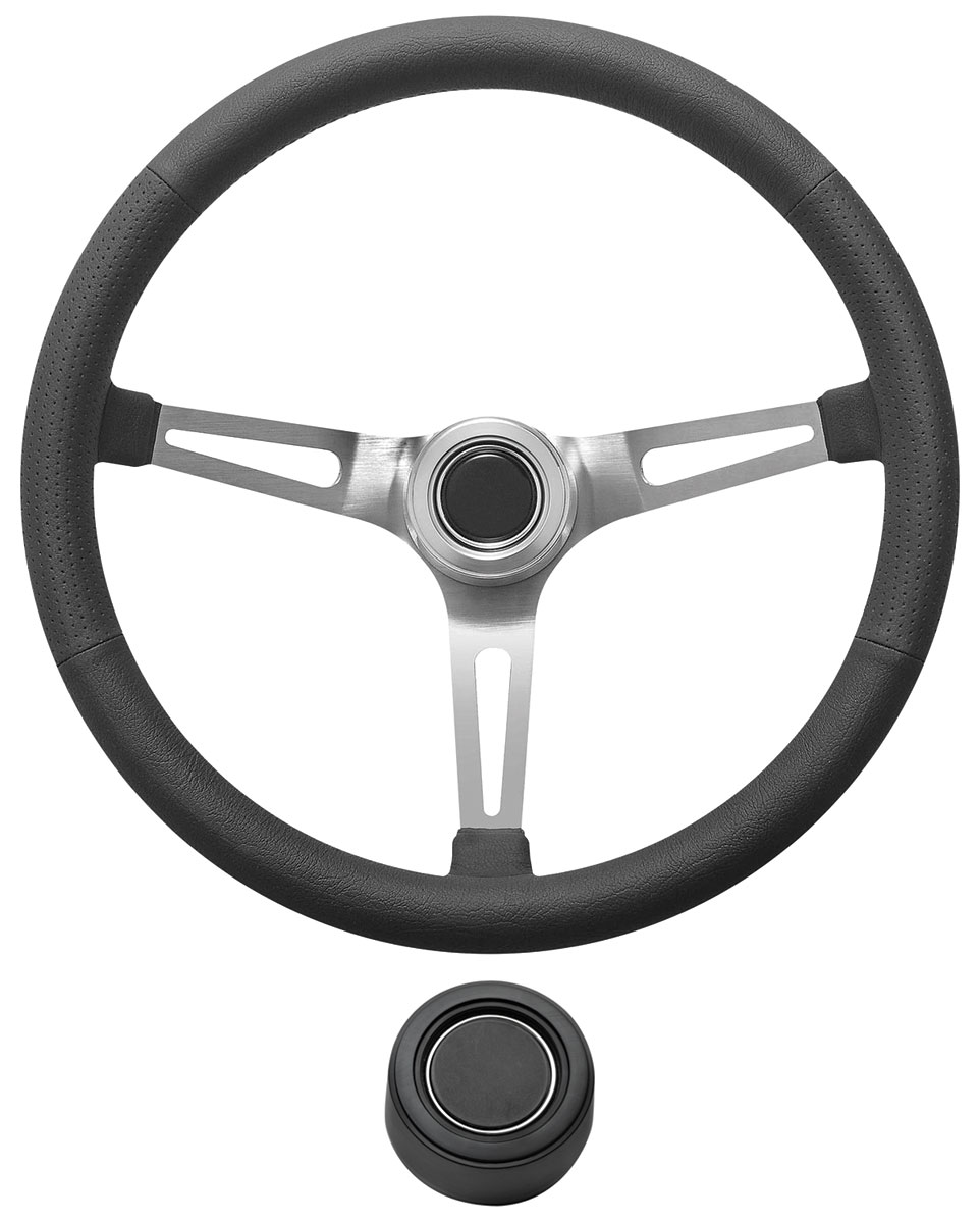 Photo of Steering Wheel Kit, Retro Wheel With Slots Hi-Rise Cap - Black with black center