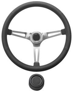 1969-77 Bonneville Steering Wheel Kit, Retro Wheel With Slots Hi-Rise Cap - Black with Black Center, Late Mount