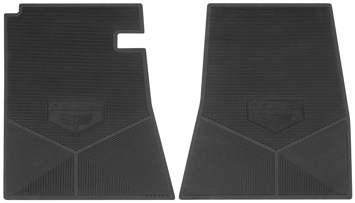 Photo of Floor Mats, Rubber Logo El Camino script letter w/Bowtie & flag