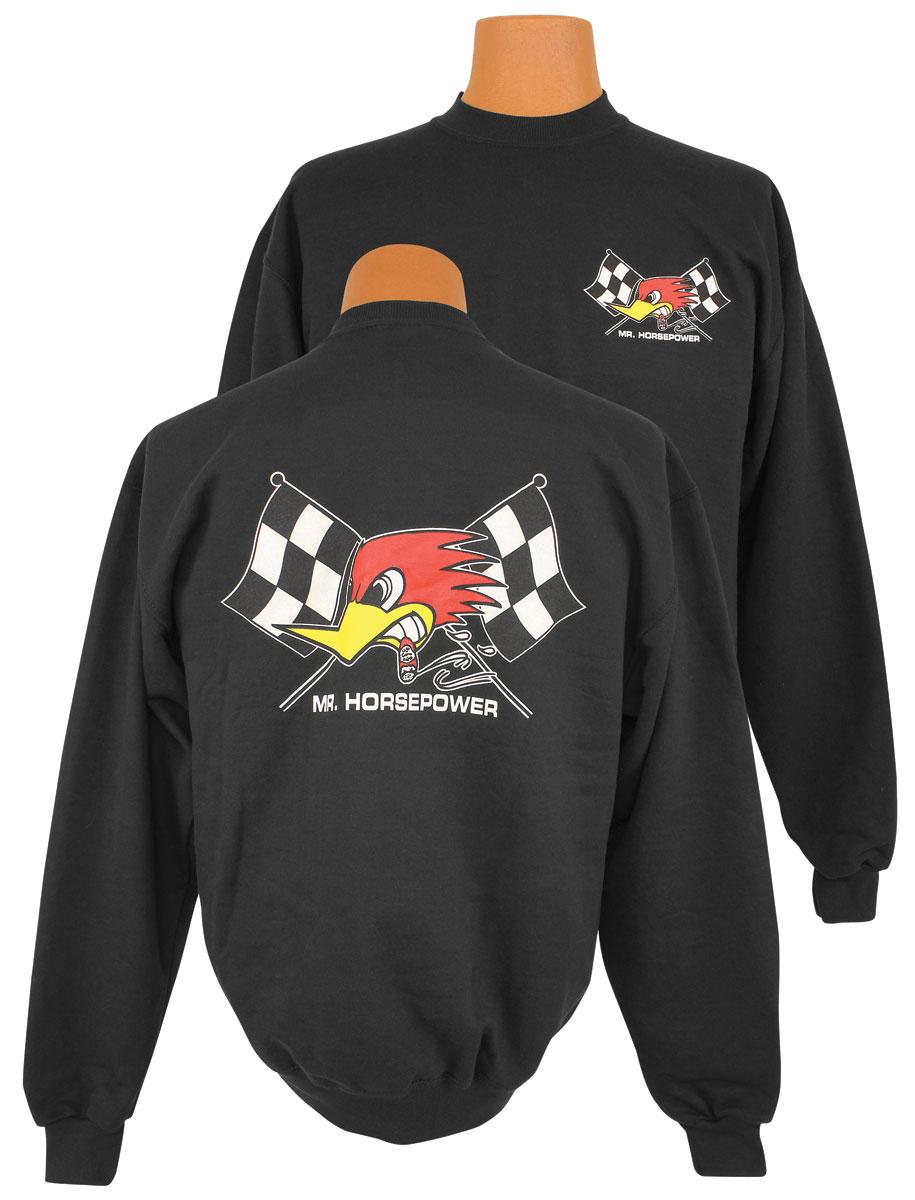 Photo of Mr. Horsepower Crossed Flags Sweatshirt (Black)