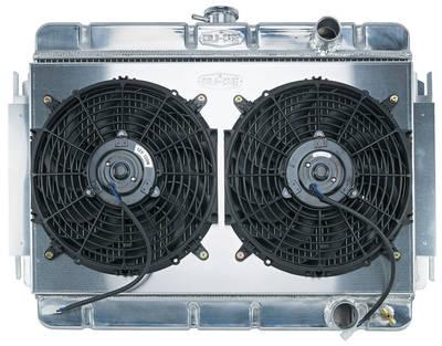 "1964-1965 El Camino Radiator & Fan, Super Duty Aluminum 15-1/8"" X 24-3/4"" MT, Pass Inlet"