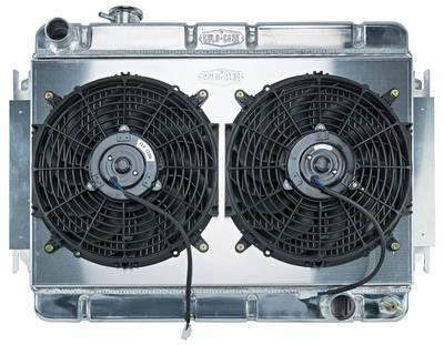 """1966-1967 El Camino Radiator & Fan, Super Duty Aluminum 15-3/8"""" X 24-3/4"""" MT, Drvr Inlet"""