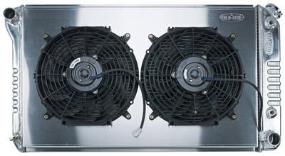 """1968-72 Bonneville Radiator & Fan, Super Duty Aluminum 18-1/2"""" X 28-1/2"""" AT, Drvr Inlet, Dual Fan"""