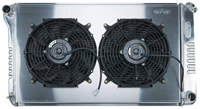 """1968-72 Bonneville Radiator & Fan, Super Duty Aluminum 18-1/2"""" X 28-1/2"""" MT, Drvr Inlet, Dual Fan"""