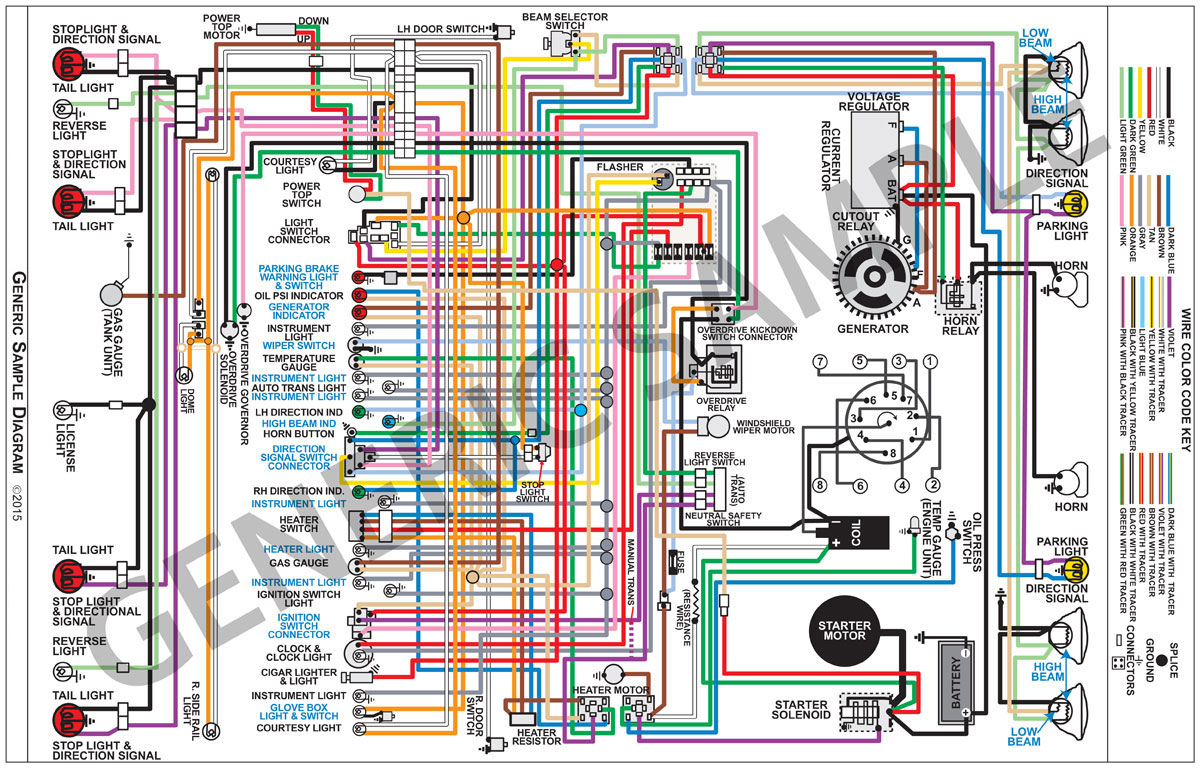 Factory Wiring Diagram  Full Color Fits 1965 El Camino