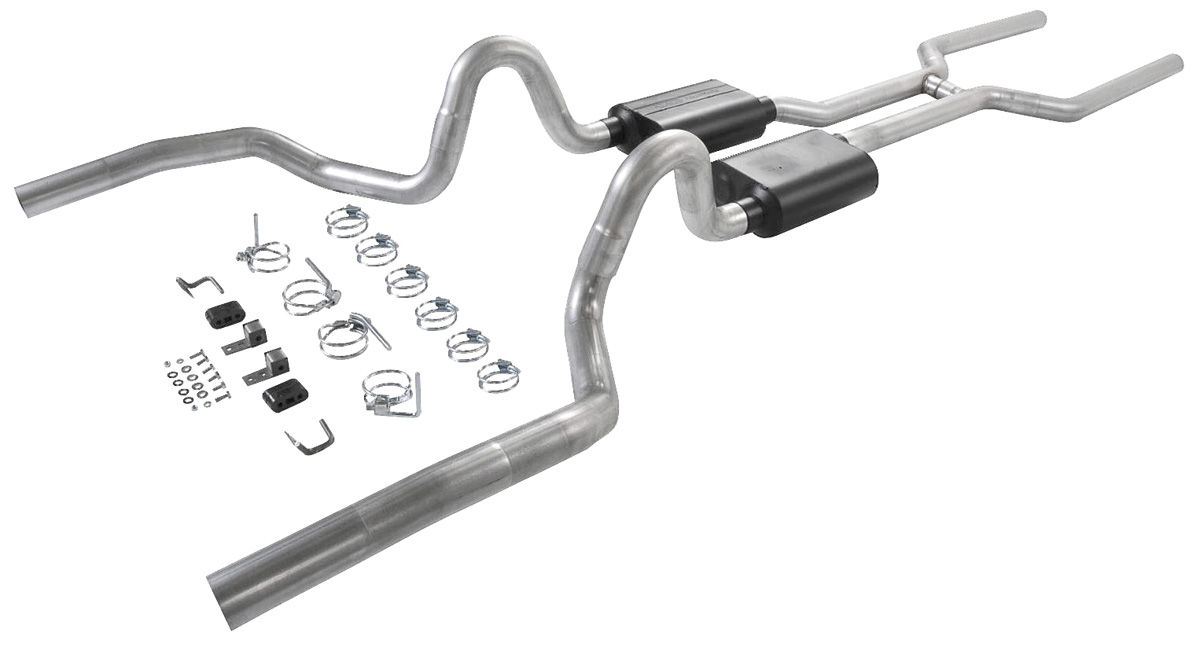 """Photo of Exhaust Kits, American Thunder W/Super 40 Series Mufflers for Chev./EC, 3"""" pipe, rear exit"""