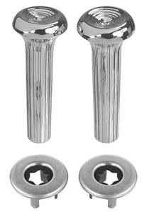 1968-78 Cadillac Door Lock Knob Kit Ribbed Knobs with Chrome Ferrules