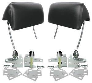 1966-67 El Camino Headrests, Reproduction Bucket Seat w/Mounting Kit, by RESTOPARTS
