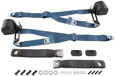 1966-73 GTO Seat Belts, Three-Point Retractable Chrome Button Bucket