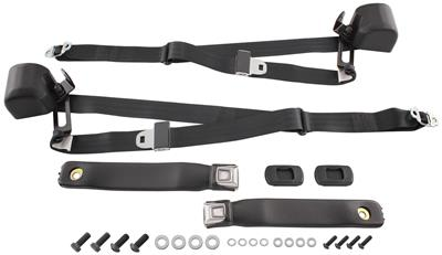 1966-67 LeMans Seat Belts, Three-Point Retractable Chrome Button Rear, Coupe