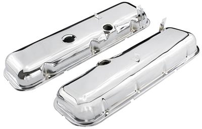 1964-72 Chevelle Valve Covers, Reproduction Chrome Big-Block Non-Dripper