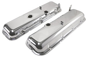 1964-67 Chevelle Valve Covers, Chrome Steel Big-Block