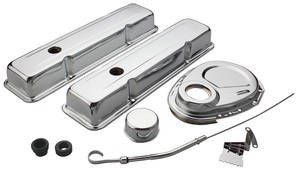 1964-77 Chevelle Engine Accessory Kit, Small-Block Chrome Chevy Short
