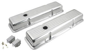 1964-77 Chevelle Valve Covers, Polished Billet Aluminum Small-Block w/Baffle, Short w/Hole